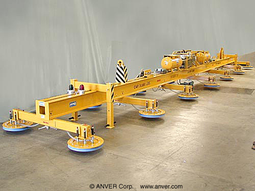 ANVER Fourteen Pad Electric Powered Vacuum Lifter for Lifting Steel Plate, 53 ft x 13 ft (16 m x 3.9 m) up to 30,000 lb (13, 608 kg)