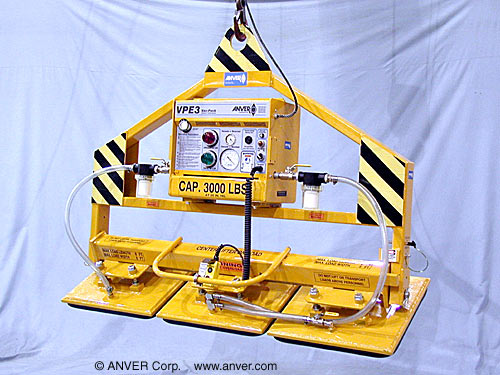 ANVER Three Pad Electric Powered Vacuum Lifter with Gravity Tilt and Fixed Foam Pads for Lifting and Tilting Stone Slabs 8 ft x 5 ft (2.4 m x 1.5 m) up to 3000 lb (1361 kg)