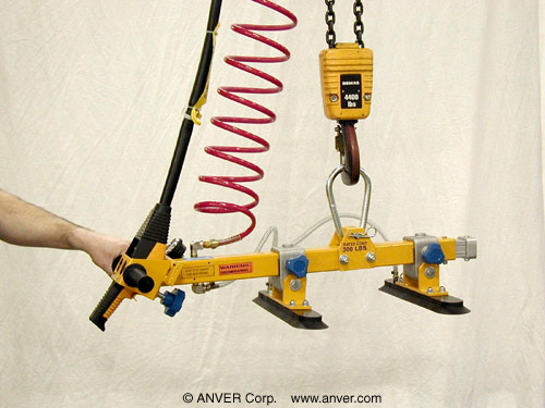 ANVER Two Pad Vacuum Lifting Frame with hoist Pendant Integration for Use with Remote Electric Powered Vacuum Generator