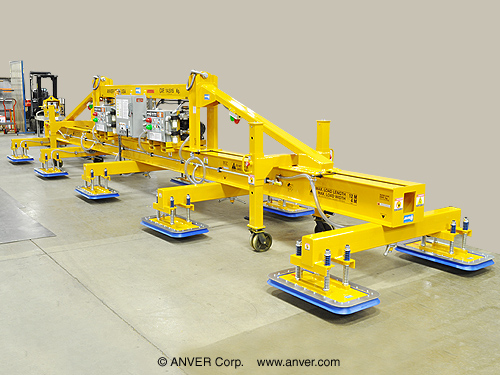 ANVER Ten Pad Electric Powered Heavy Duty Lifter for Lifting & Handling Steel Sheet 39.4 ft x 13.1 ft (12 m x 4 m) Weighing up to 32,000 lb (14,514 kg)
