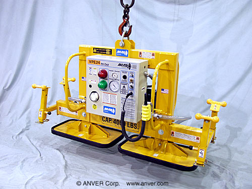 ANVER Electric Powered Vacuum Lifter with Dual Fixed Pads for Lifting & Handling Metal Blocks up to 4000 lb (1814 kg)