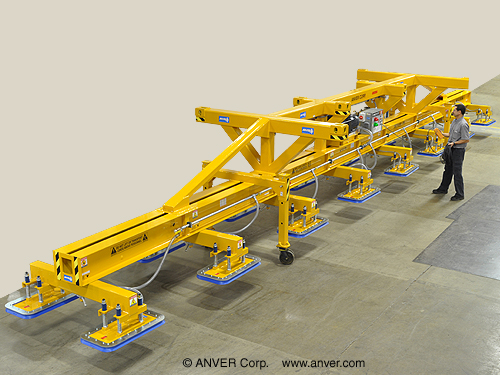 ANVER Sixteen Pad Electric Powered Heavy Duty Lifter for Lifting & Handling Steel Sheet 50 ft x 10 ft (15.2 m x 3.1 m) Weighing up to 50,000 lb (22,680 kg)