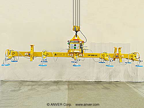 ANVER Ten Pad Electric Powered Vacuum Lifter for Lifting Steel Plates, 20 ft x 8 ft (6 m x 2.4 m) up to 5000 lb (2268 kg)