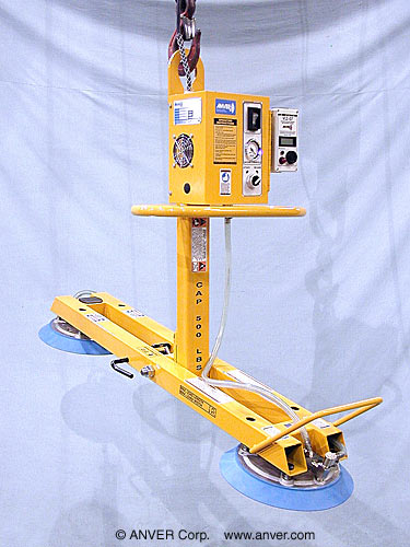 Two Pad Electric Powered Lifter with Manual Tilt for Lifting and Tilting Glass Doors 7 ft x 3 ft (2.1 m x 0.9 m) up to 500 lb (227 kg)