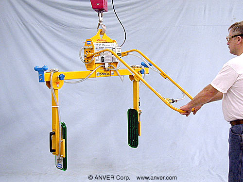 ANVER Two Pad Electric Powered Side Gripping Vacuum Lifter for Lifting & Handling Steel Cabinets 4 ft x 2 ft (1.2 m x 0.6 m) up to 500 lb (227 kg)