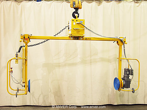 ANVER Two Pad Electric Powered Side Gripping Vacuum Lifter with Powered Rotation
