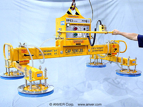 ANVER Four Pad Electric Powered Vacuum Lifter for Lifting Steel Plates 12 ft x 8 ft (3.6 m x 2.4 m) up to 5200 lb (2358 kg)