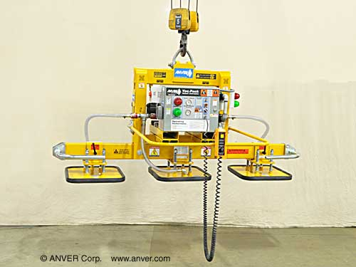 ANVER Three Pad Electric Powered Vacuum Lifter with Foam Pads for Lifting Limestone Slabs, 12 ft x 6 ft (3.7 m x 1.8 m) up to 6000 lb (2722 kg)