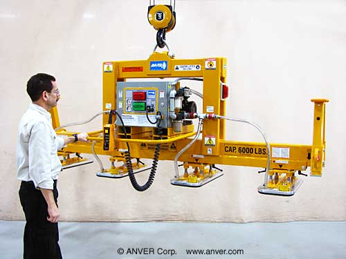 ANVER Four Pad Heavy Duty Electric Powered Vacuum Lifter for Lifting Metal Plate weighing up to 6000 lb (2720 kg)