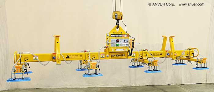 ANVER Eight Pad Electric Powered Lifter for Lifting & Handling Steel Plate 24 ft x 8 ft (7.3 m x 2.4 m) up to 6000 lbs (2722 kg)
