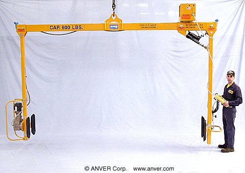 ANVER Four Pad Side-Gripping Electric Powered Vacuum Lifter with Powered Rotation for Lifting and Rotating Rocket Sections up to 600 lb (272 kg)