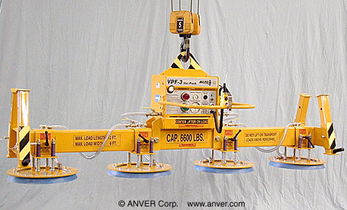 ANVER Four Pad Electric Powered Vacuum Lifter for Lifting Metal Sheet, 12 ft x 6 ft (3.7 m x 1.8 m) up to 6600 lb (2994 kg)