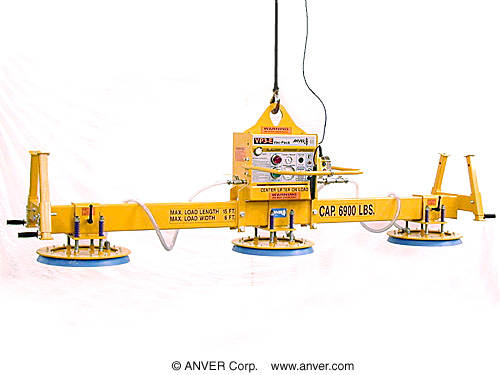 ANVER Three Pad Heavy Duty Electric Powered Vacuum Lifter with New Solid State Vacuum Control Module for Lifting Steel Plate, 15 ft x 6 ft (4.5 m x 1.8 m) up to 6900 lb (3130 kg)