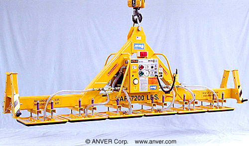 ANVER Six Pad Inline Electric Lifter with Foam Pads for Lifting Carbon Blocks 15 ft x 6 ft (4.6 m x 1.8 m) up to 7200 lb (3266 kg)