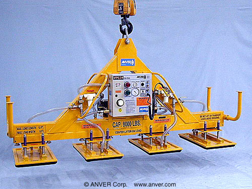 ANVER Four Pad Electric Powered Inline Vacuum Lifter for Lifting & Handling Limestone Blocks 12 ft x 6 ft (3.7 m x 1.8 m) up to 8000 lb (3629 kg)