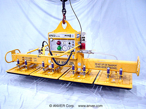 ANVER Four Pad Electric Powered Custom Lifter with Foam Pads for Lifting & Handling Stone Monuments 9 ft x 5 ft (2.7 m x 1.5 m) up to 8000 lb (3629 kg)