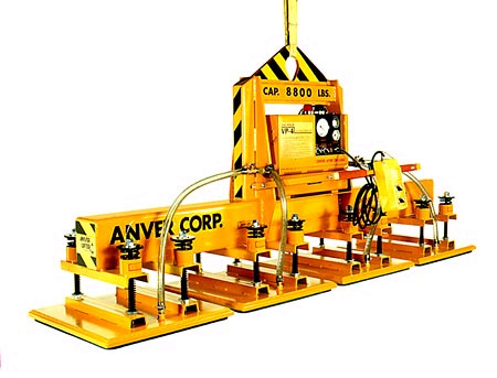 ANVER Four Pad Electric Powered Heavy Duty Vacuum Lifter with Foam Pads for Lifting Brass Ingots 8 ft x 4 ft (2.4 m x 1.2 m) weighing up to 8800 lb (4000 kg)