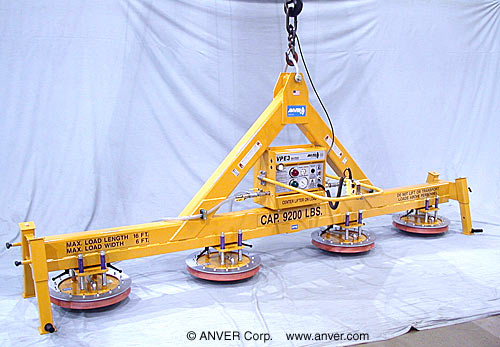 ANVER Four Pad Electric Inline Lifter with Heavy Duty Frame and Silicone Sealing Rings for Lifting & Handling Metal Plate 16 ft x 6 ft (4.9 m x 1.8 m) up to 9200 lb (4173 kg)