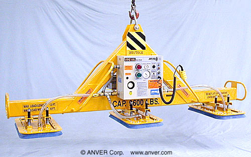 ANVER Three Pad Electric Powered Vacuum Lifter for Lifting & Handling Large Steel Blocks 12 ft x 6 ft (3.6 m x 1.8 m) weighing up to 9600 lb (4355 kg)