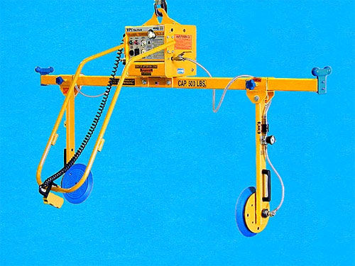ANVER Two Pad Vacuum Lifter with Adjustable Side Gripping Vacuum Pads for Lifting Various Size Loads weighing up to 500 lb (227 kg)
