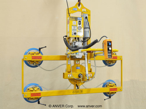 "ANVER Four Pad Electric Lifter with Powered Tilt and Manual Rotation for Lifting, Tilting & Rotating Curved Glass windows,1/4"" (0.6 cm) thick up to 96"" x 40"" (2.4 m x 1.0 m)"