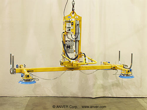 ANVER Four Pad Electric Lifter with Powered Tilt and Manual Rotation for Lifting, Tilting & Rotating Metal Plates 12 ft x 6 ft (3.7 m x 1.8 m) up to 1000 lbs (454 kg)