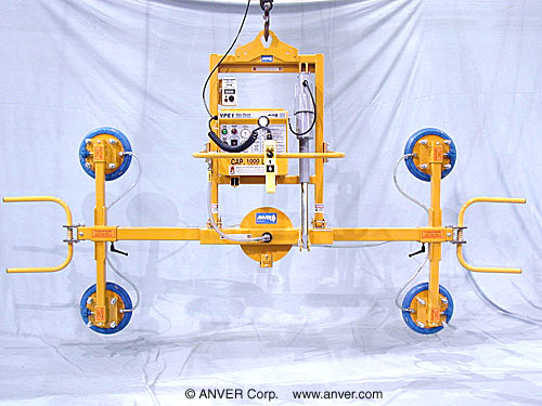 ANVER Four Pad Electric Powered Vacuum Lifter with Powered Tilter and Manual Rotate for Lifting & Tilting Glass Panels 12 ft x 8 ft (3.7 m x 2.4 m) up to 1000 lb (454 kg)