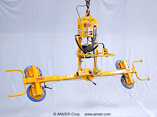 ANVER Four Pad Electric Powered Vacuum Lifter with Powered Tilt and Manual Rotate for Lifting Steel Sheets
