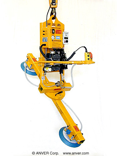 ANVER Two Pad Electric Powered Vacuum Lifter with Powered Tilt and Manual Rotate