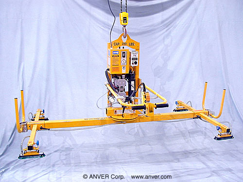 ANVER Four Pad Electric Lifter with Powered Tilt, Manual Rotate and Oval Vacuum Pads for Lifting & Tilting Door Frames 10 ft x 6 ft (3.0 m x 1.8 m) up to 250 lb (113 kg)