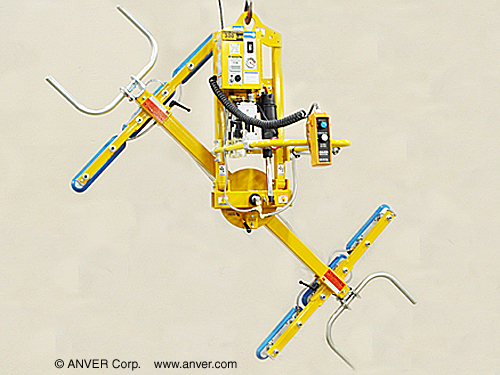 ANVER Six Pad Electric Powered Vacuum Lifter with Powered Tilt, Manual Rotate and Custom Pendant Holster for Lifting & Tilting Glass Panes  ft x 4 ft (2.7 m x 1.2 m) up to 300 lb (136 kg)