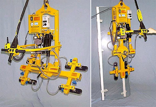 Four Pad Electric Powered Vacuum Lifter with Powered Tilter, Oval Cups and Manual Rotation