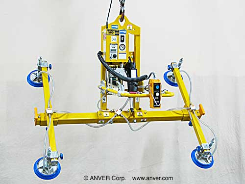 ANVER Four pad Electric Powered Vacuum Lifter with Powered Tilt