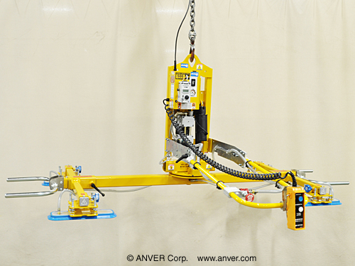 ANVER Four Pad Electric Powered Vacuum Lifter with Powered Tilt and Manual Rotate