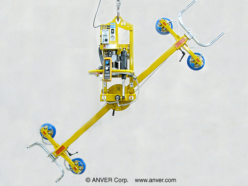 ANVER Four Pad Electric Powered Vacuum Lifter with Powered Tilt, Manual Rotate and Custom Pendant Holster for Lifting & Tilting Metal Panels 8 ft x 4 ft (2.4 m x 1.2 m) up to 500 lb (227 kg)