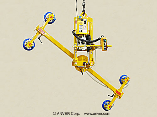 ANVER Four Pad Electric Powered Vacuum Lifter with Powered Tilt and Manual Rotate for Lifting Glass Panes 12 ft x 6 ft (3.7 m x 1.8 m) up to 500 lb (227 kg)