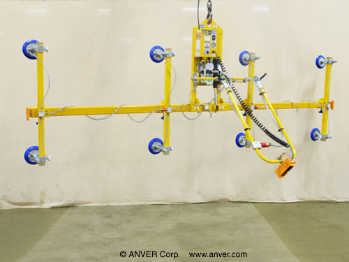 ANVER Eight Pad Electric Lifter with Powered Tilt for Lifting Ceramic Coated Steel Boards 16 ft x 4 ft (4.9 m x 1.2 m) up to 500 lb (227 kg)