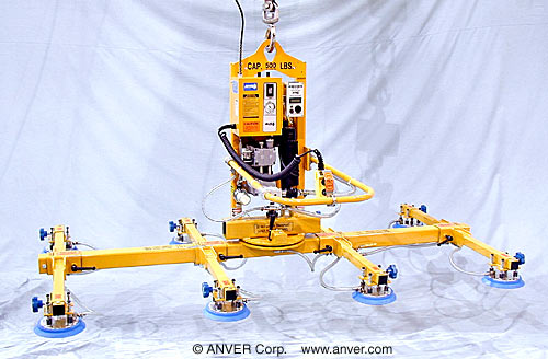 ANVER Eight Pad Electric Lifter with Powered Tilt and Manual Rotation for Lifting & Tilting Glass Panels 9 ft x 5 ft (2.7 m x 1.5 m) up to 500 lb (227 kg)