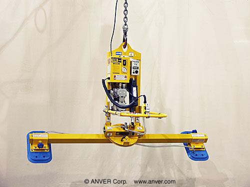 ANVER Two Pad Electric Powered Vacuum Lifter with Powered Tilt and Manual Rotate for Lifting, Tilting & Rotating Door Panels 12 ft x 6 ft (3.7 m x 1.8 m) up to 600 lbs (272 kg)