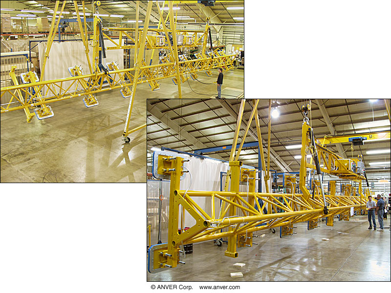 """Electric Powered Vacuum Lifter with Hydraulic Powered Tilt for Lifting & Tilting Extra Long Steel plate 80 ft x 12 ft (24.4 m x 3.7m x ) 1/2"""" thick up to 28,000 lbs (12701 kg)"""