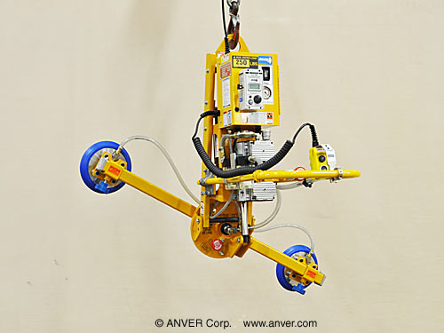 ANVER Two Pad Electric Powered Vacuum Lifter with Powered Tilt, Manual Rotate and Custom Pendant Holster for Lifting & Tilting Glass Panes 6 ft x 4 ft (1.8 m x 1.2 m) up to 250 lb (113 kg)