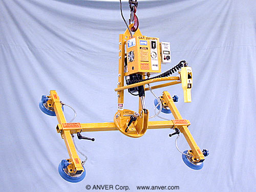 ANVER Four Pad Electric Lifter with Powered Tilt and Manual Rotate for Lifting & Handling Glass Panes 6 ft x 5 ft (1.8 m x 1.5 m) up to 250 lb (113 kg)