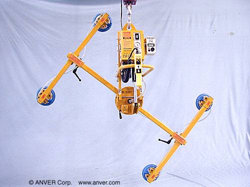 ANVER Four Pad Electric Lifter with Powered Tilt and Manual Rotate for Lifting & Handling Steel Sheet 10 ft x 6 ft (3.0 m x 1.8 m) up to 250 lb (113 kg)