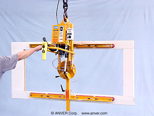 ANVER Eight Pad Custom Electric Lifter with Powered Tilt and Manual Rotate for Lifting & Handling Door Frames 6 ft x 4 ft (1.8 m x 1.2 m) up to 250 lb (113 kg)