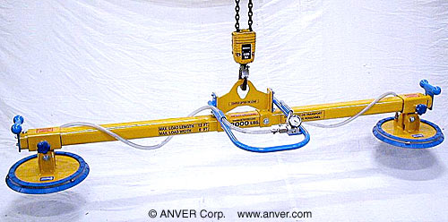 ANVER Two Pad Lifting Beam for use with Remote Vacuum Generators for Lifting & Handling Plastic Sheets 12 ft x 6 ft (3.7 m x 1.8 m) up to 1000 lb (454 kg)
