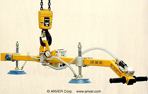ANVER Two Pad Vacuum Lifting Beam with Alarm System for Remote Vacuum Generators for Lifting Rubber Slabs