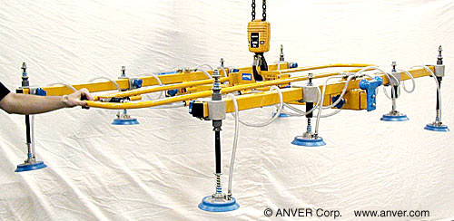 ANVER Eight Pad Vacuum Lifting Frame with Special Pad Extensions for Remote Vacuum Generators for Lifting Roof Panels