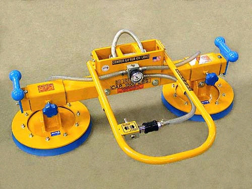 ANVER Two Pad Vacuum Lifting Beam with Heavy Duty Adjustable Vacuum Pads for Lifting Graphite Slabs