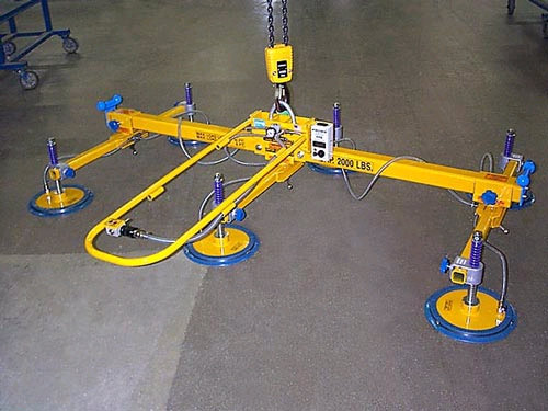 ANVER Six Pad Vacuum Lifting Beam Assembly for use with Remote Vacuum Generators