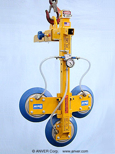 ANVER Three Pad Vertical Vacuum Lifting Beam for Remote Vacuum Generators for Lifting TV Sets